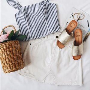 White mini denim jeans women's summer skirt